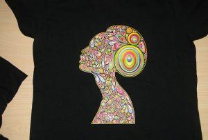 Μαύρο δείγμα εκτύπωσης t-shirt από τον εκτυπωτή A2 T-shirt WER-D4880T